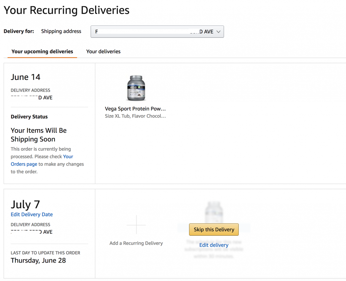 amazon subscriptions table with dynamic buttons and icons