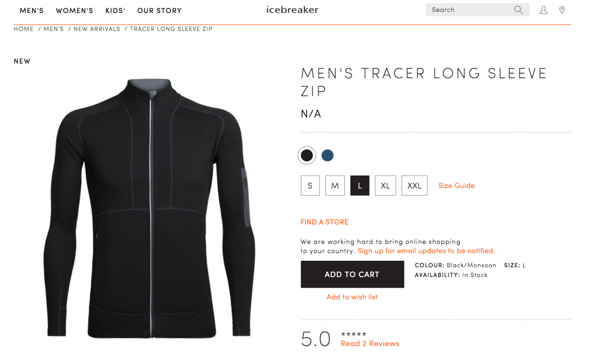 ecommerce site with consistent orange links next to key tasks in black