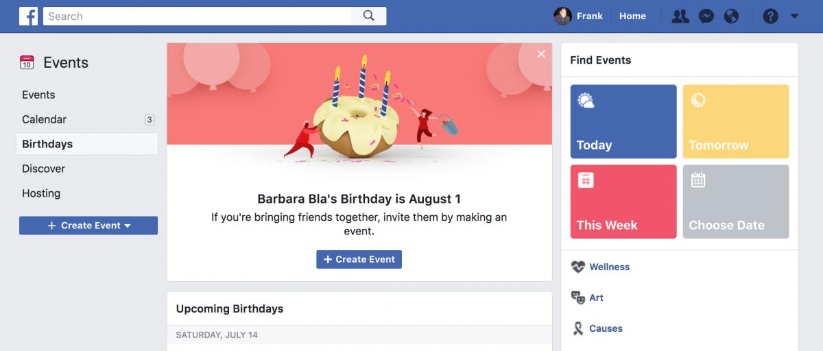 facebook birthday reminders