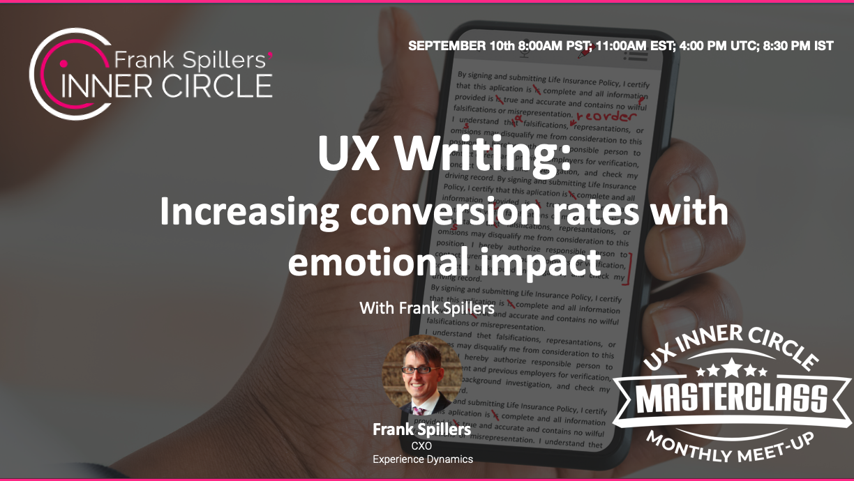 Ux writing cover slide man holding phone with edited text