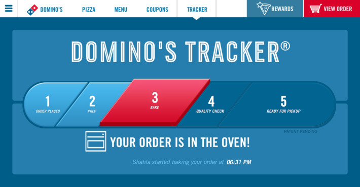 dominos delivery tracker